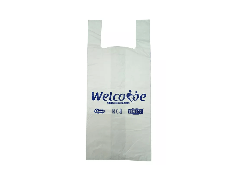 White HDPE Singlet Bag Printed 1 Colour 1 Side