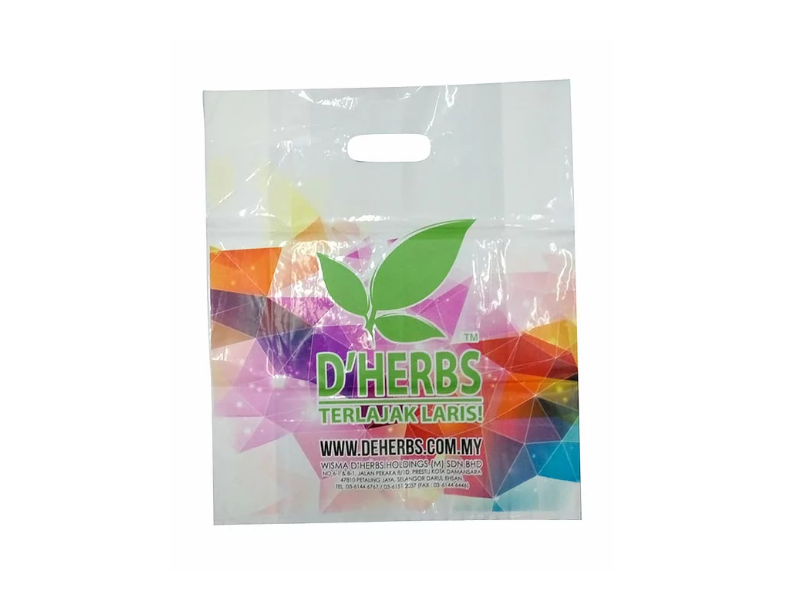 White LDPE Punch Hole Bag Printed 2 Side Multi Colour