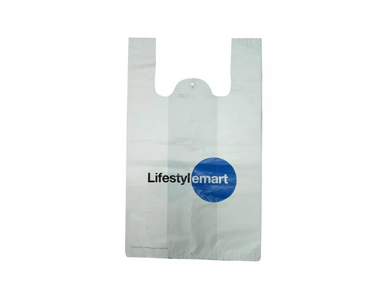 White HDPE Singlet Bag Printed 2 Colour 2 Side