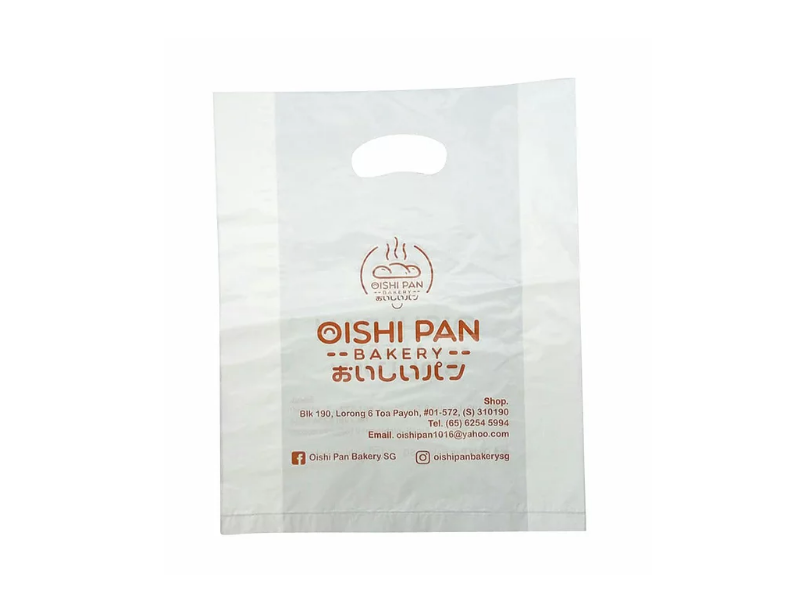 White HDPE Punch Hole Bag Printed 1 Colour 1 Side